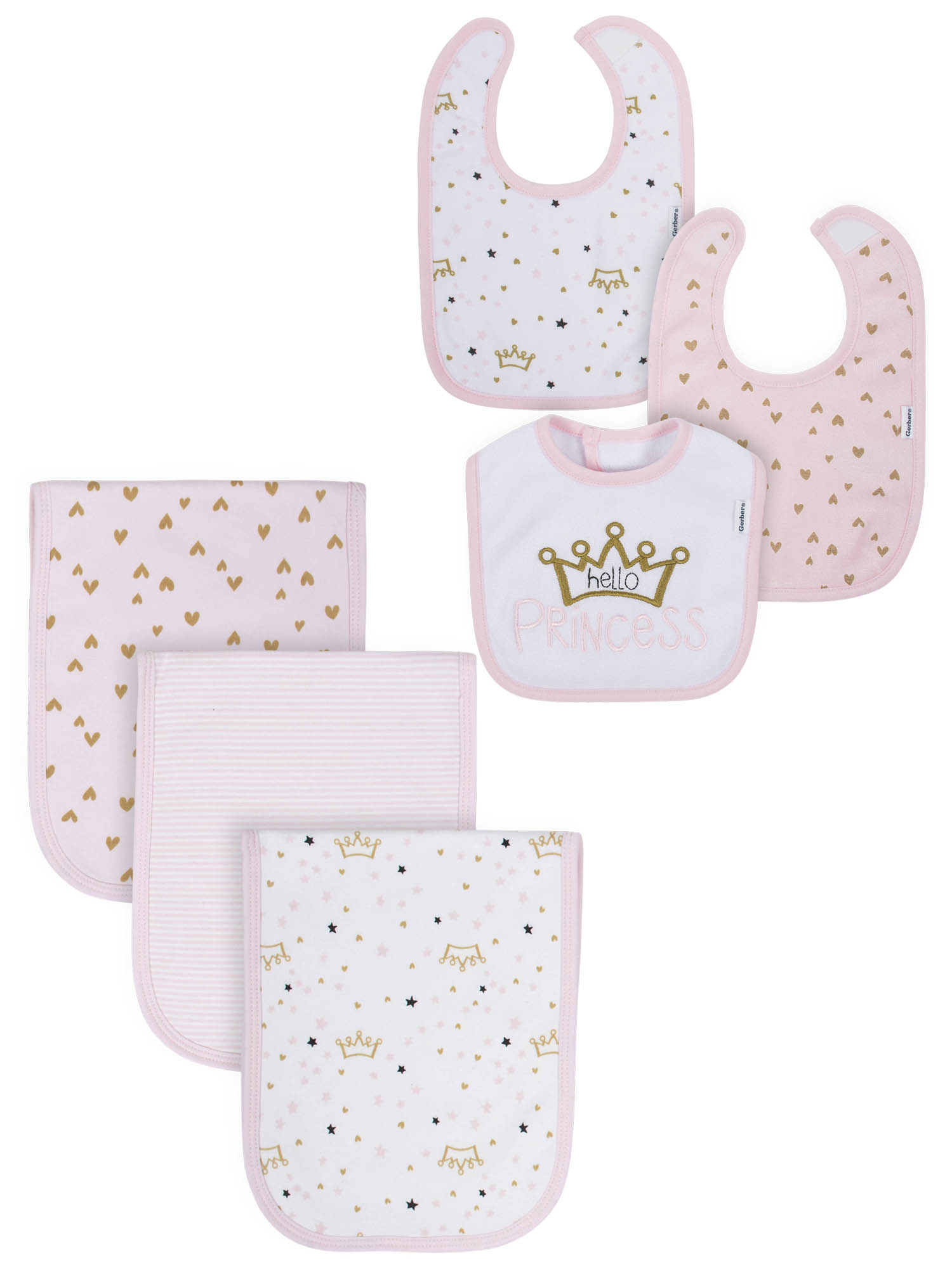 Gerber Organic Terry Bibs and Burp Cloths Set (Baby Girls)