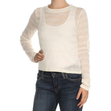 BAR III Womens White Sheer Long Sleeve Crew Neck Top  Size: XS
