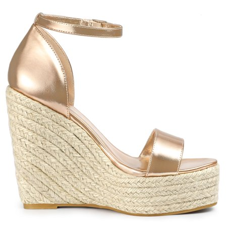 Women's Espadrille Wedges Platform Sandals Rose Gold US 10 - image 3 of 7