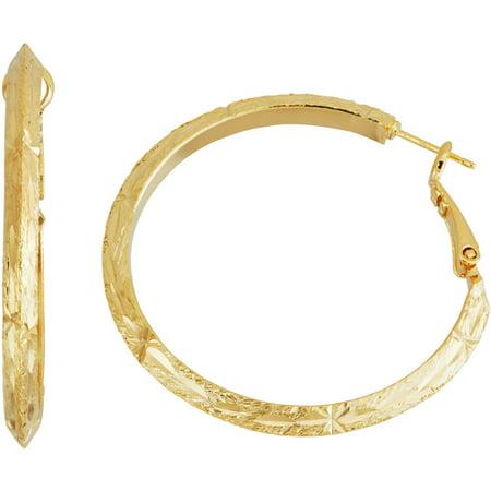 14kt Gold-Tone Diamond-Cut 40mm Knife Edge Hoop Earrings 40mm Wide Hoop Earrings