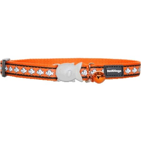 Red Dingo Reflective Fish Patterned Cat Collar, Orange Fish Tropical Cat Collar