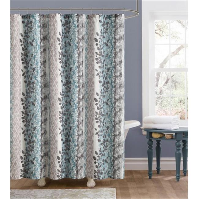 Luxury Home Amadora Shower Curtain, Blue & Brown - 72 x 72 inch
