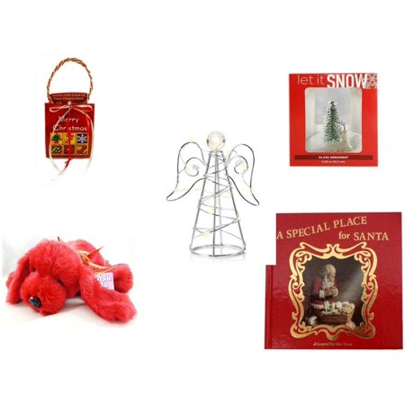 Christmas Fun Gift Bundle [5 Piece] - Musical Gift Card Holder - Let It Snow Glass Ornament Deer - RadioShack LED Desktop USB-Powered Wire Angel -  Pals Soft & Cuddly Red  Dog  10