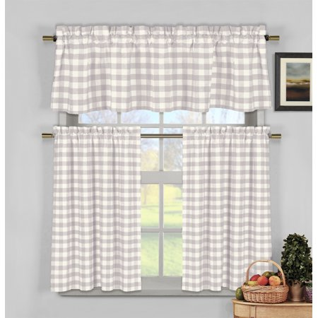 Lilac 3 Piece Gingham Check Kitchen Window Curtain Set: Plaid, Cotton Rich,  1 Valance, 2 Tier Panels