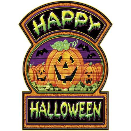 Happy Halloween Jack-O-Lantern Sign Halloween Decoration 12