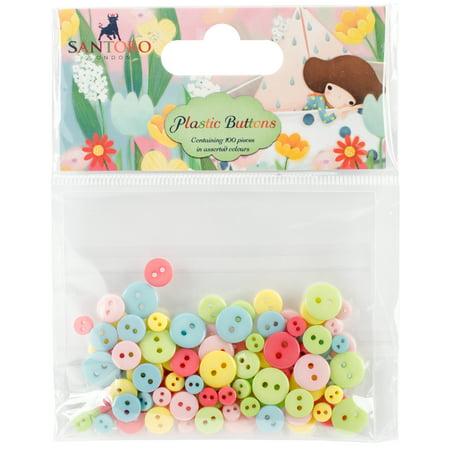Santoro Kori Kumi II Mini Plastic Buttons 100/Pkg-Assorted Colors; 11mm, 8mm, 5mm