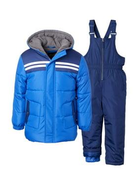 iXtreme Baby Toddler Boy Double Stripe Winter Jacket Coat & Snow Bib Snow Pants, 2pc Snowsuit Set