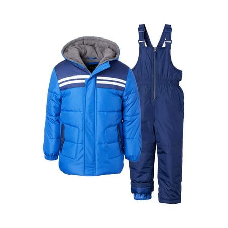 iXtreme Baby Toddler Boy Double Stripe Winter Jacket Coat & Snow Bib Snow Pants, 2pc Snowsuit Set Toddler Jackets Shop
