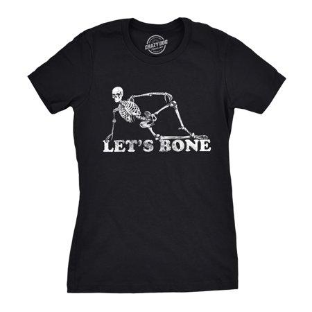 Womens Lets Bone Tshirt Funny Halloween Skeleton Tee - Funny Bones Halloween Song