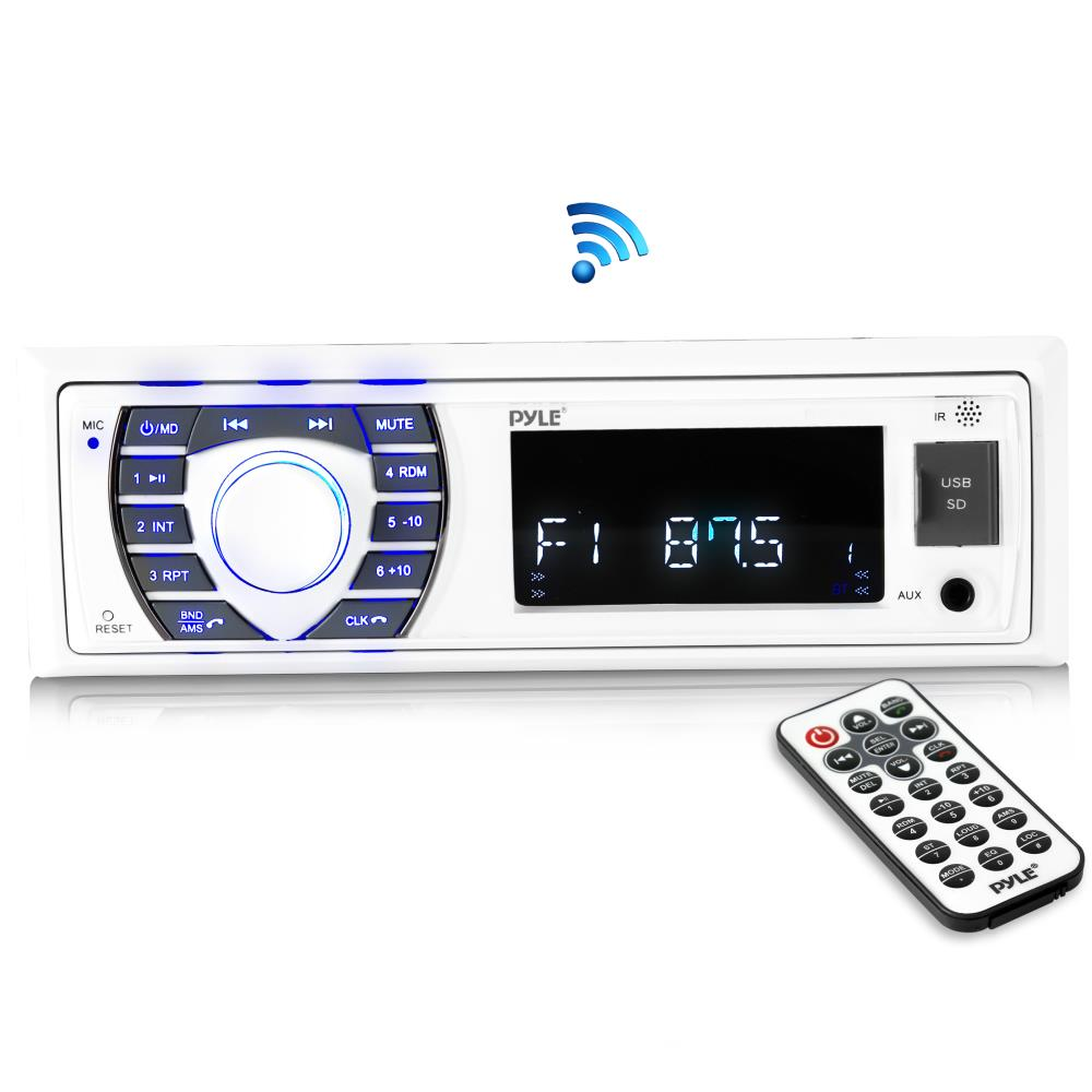 PYLE PLRMR23BTW - Bluetooth Marine Receiver Stereo - 12v Single DIN Style Boat in Dash Radio Receiver System with Digital LCD, RCA, MP3, USB, SD, AM FM Radio - Remote Control, Wiring Harness (White)