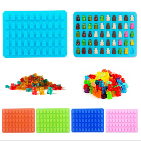 Gummy Bear Molds, 50 Cavity Soft Non-Stick Candy Desserts Mold Trays, Heat Resistant Homemade Making Molds with a Dropper, Chocolate, Flavored Ice, Jelly, Ice Cream Making