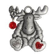 Pewter Moose with Bead Ornament