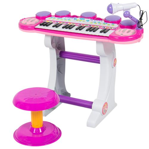 Musical Kids Electronic Keyboard 37 Key Piano W/ Microphone, Synthesizer, Stool, Records and Playbacks Music Pink