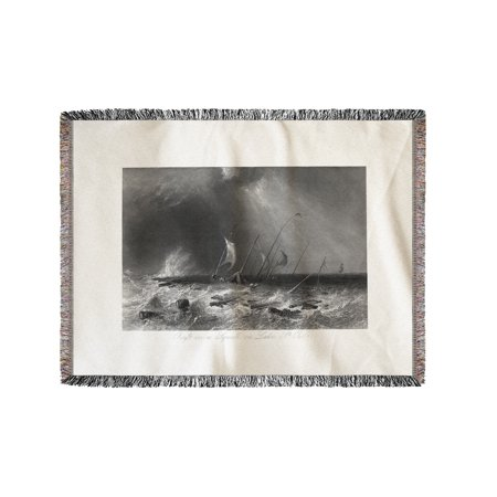 Quebec, Canada - View of a Raft in a Squall on Lake St. Peter (60x80 Woven Chenille Yarn Blanket)