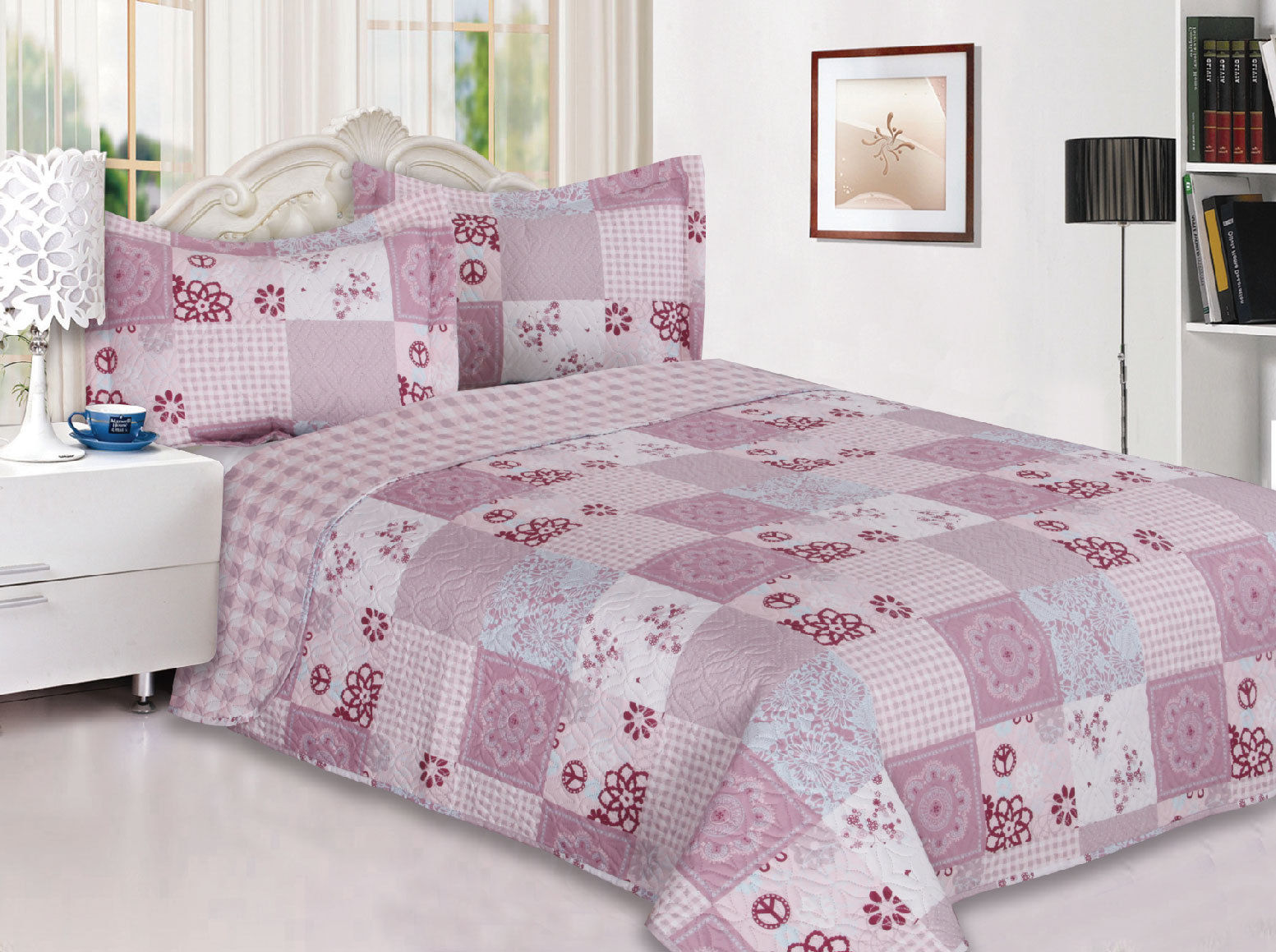 3-Piece Reversible Quilted Printed Bedspread Coverlet Pink Flower Patchwork King Size by