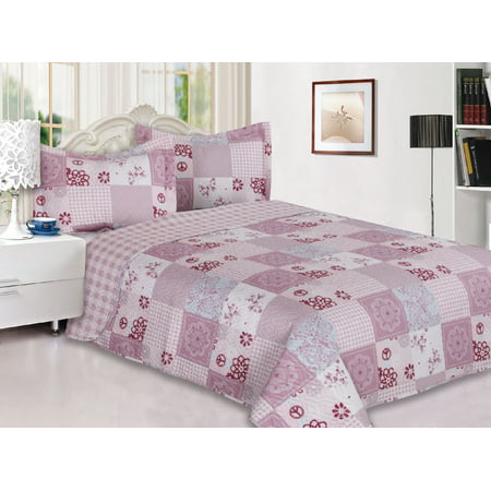 3-Piece Reversible Quilted Printed Bedspread Coverlet Pink Flower Patchwork - Full (Best Ikea Quilts)