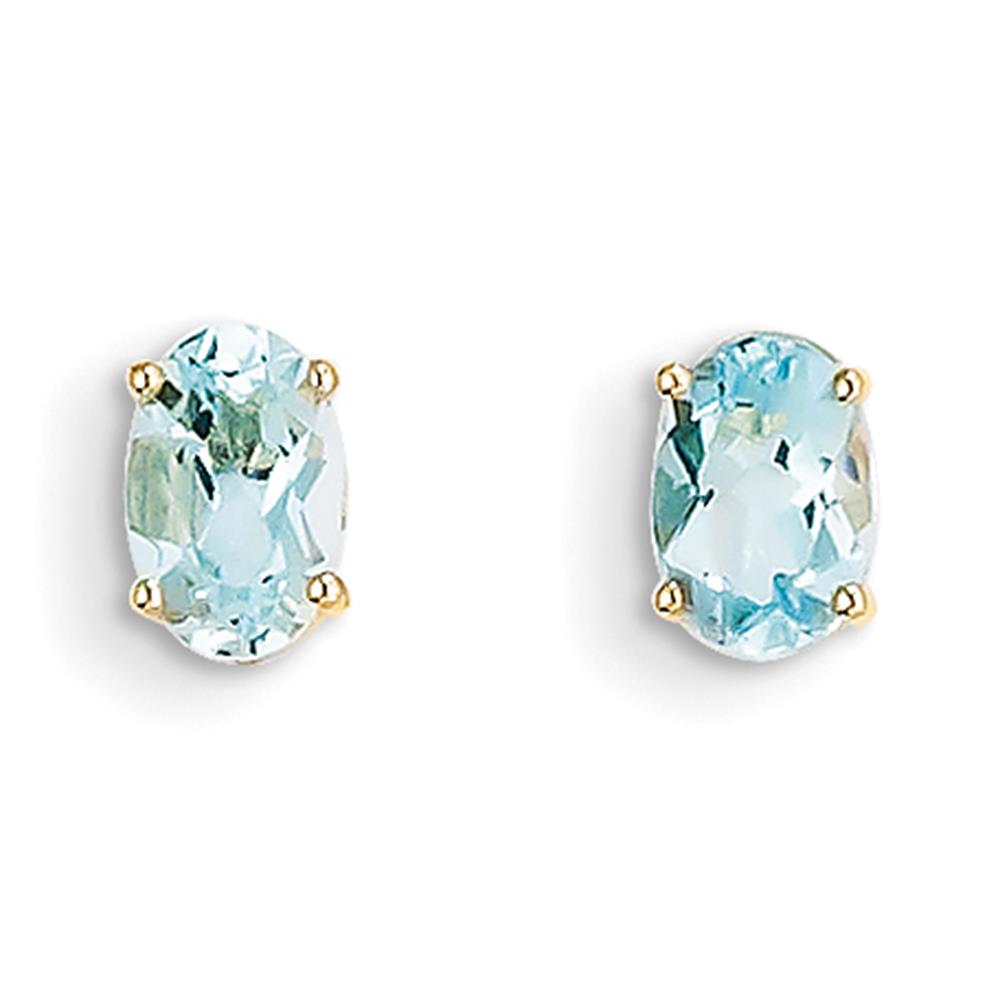 14k Yellow Gold 6mm x 4mm Genuine Oval March Aquamarine Post Earrings