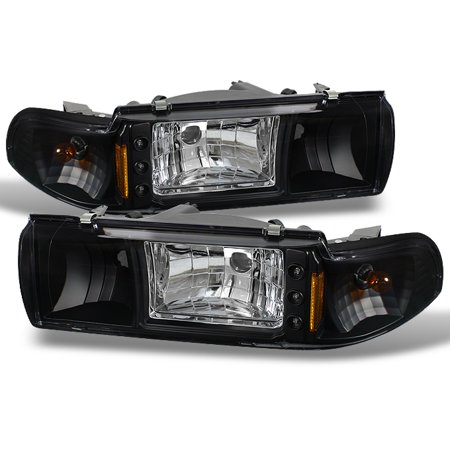 Fit 91-96 Chevy Impala Caprice Black Replacement 1PC LED Headlights/Corner  Lamps