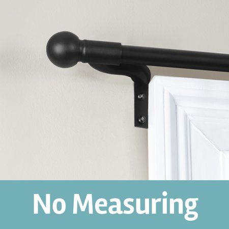 Smart Rods Easy Install Cafe Window Curtain Rod, Ball Finial Street Rod Cafe