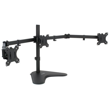 VIVO Black Triple Monitor Adjustable Freestanding Mount - Articulating Tri Stand for 3 Screens up to 24