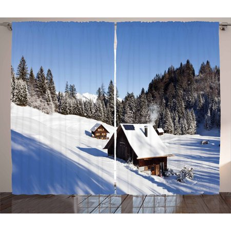 Winter Curtains 2 Panels Set  Log Cabins In The Mountains Sunny Winter Day Rural Scene Holiday Vacation  Window Drapes For Living Room Bedroom  108W X 90L Inches  Blue Brown White  By Ambesonne