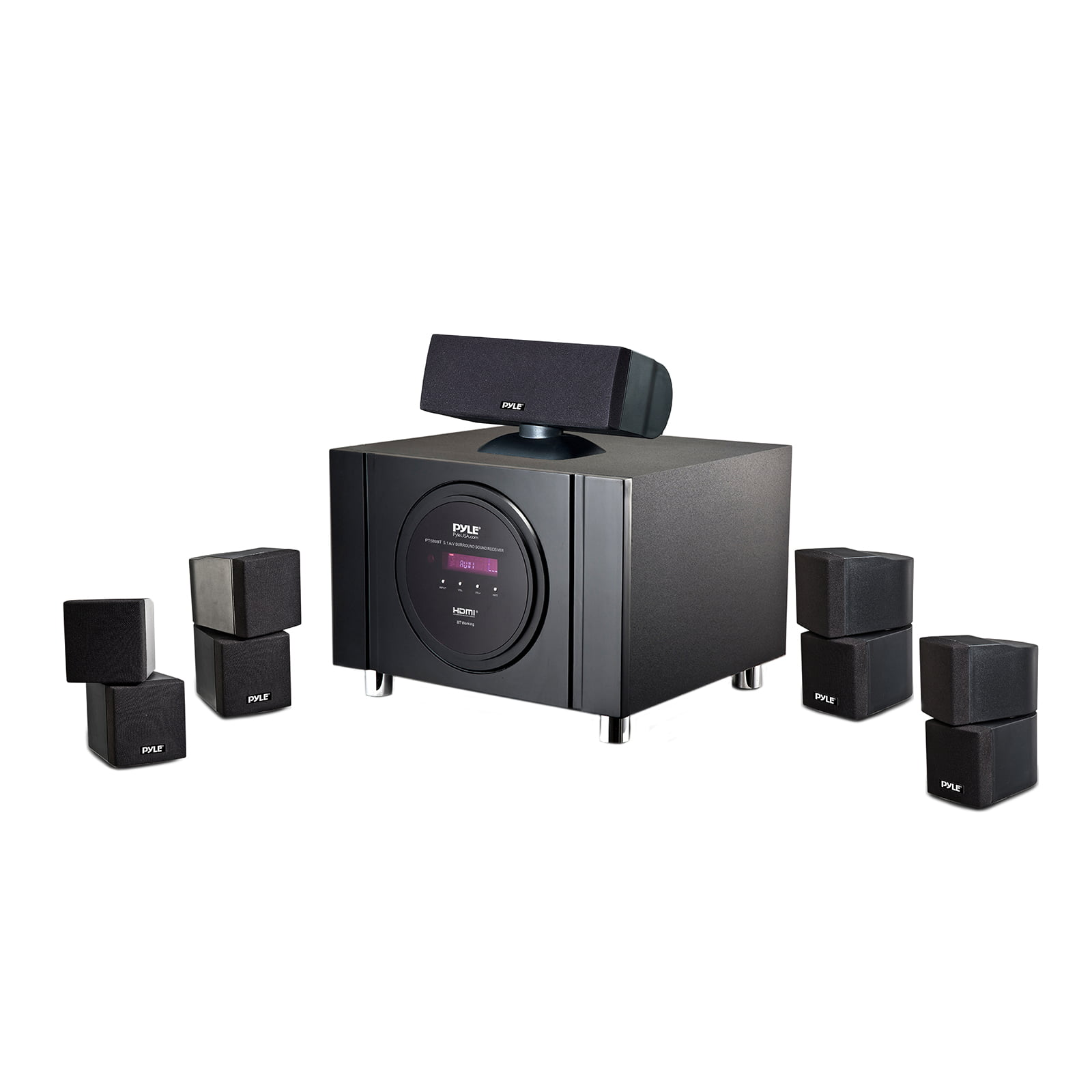 BT 5.1 Channel Home Theater System Surround Sound Speakers & A V Amplifier Receiver, FM Radio by Pyle