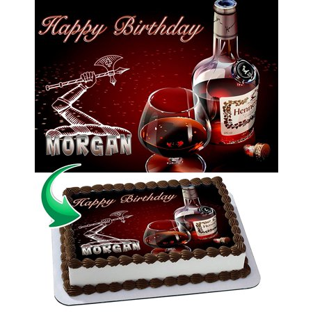 Personalized Hennessy Bottle (Hennessy Edible Cake Image Topper Personalized Picture 1/4 Sheet)