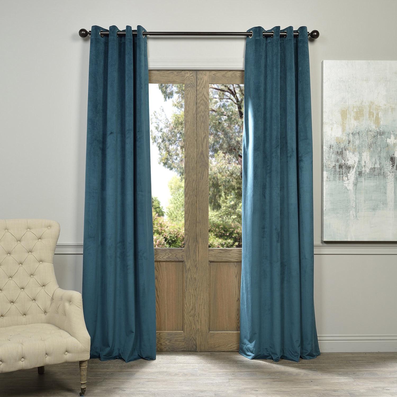 Exclusive Fabrics  Signature Velvet Grommet 96-inch Blackout Curtain Panel