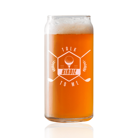 Talk Birdie To Me -  Golf  | 20oz Beer Can Glass | Laser etched, dishwasher safe,  Made in the