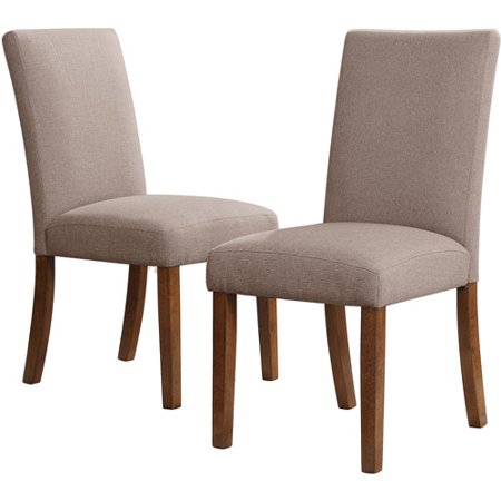 Trestle 5 Piece Dining Set With Linen Parsons Chairs Dark