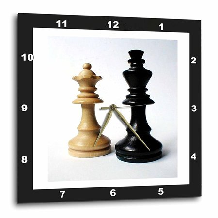 3dRose King n Queen Of Chess, Wall Clock, 13 by 13-inch