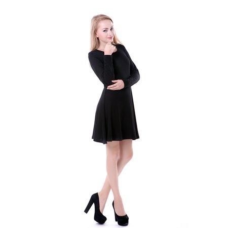 HDE - HDE Women s Casual Cotton Jersey Knit Black Long Sleeve Slip-On Mini  Skater Dress (Black 7c5589f61