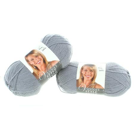 Lion Brand Vannas Style  Silver Yarn Craft Knitting 2 Skeins Machine Washable