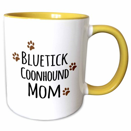 3dRose Bluetick Coonhound Dog Mom - Doggie by breed - brown muddy paw prints - doggy lover mama - pet owner - Two Tone Yellow Mug, 11-ounce Bluetick Coonhound Dogs