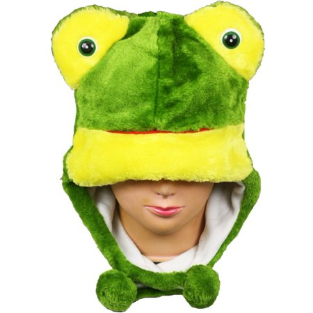 Kids Frog Hat (Plush Fleece Animal Hat FROG with ear flops KIDS teens ADULTS)