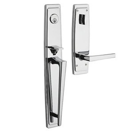 Full Escutcheon - Baldwin 85397260RENT Estate Palm Springs Full Escutcheon Single Cylinder Handleset for Right Handed Doors - Polished Chrome