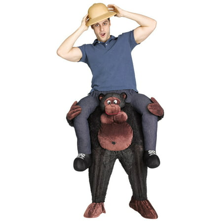 Gorilla Riding on Shoulder Men's Adult Halloween Costume (Riding An Animal Halloween Costume)