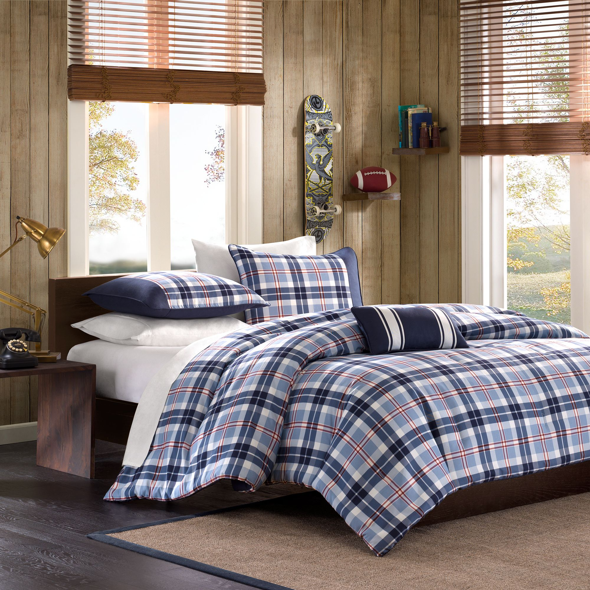 Home Essence Teen Lance Plaid Mini Comforter Bedding Set