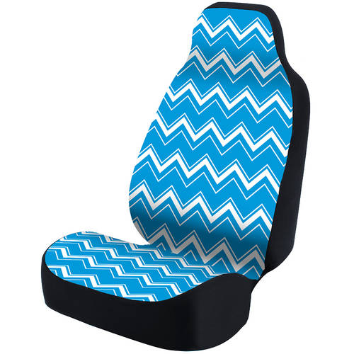 Coverking Universal Seat Cover Fashion Print, Ultra Suede, Chevrons White and Blue Background with Black Interlock Backing