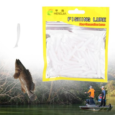 Hilitand 50PCS Soft Plastic Fishing Lures T-Tail Grub Worm Baits Fish Tackle Accessory, Fishing Soft Lures Baits