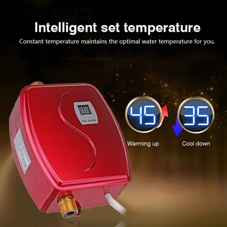 110V 3.8kW Smart Instant Electric Tankless Water Heater Constant Temperature Safety Hot Water System Appliance for Kitchen Washing Faucet Bathroom Shower Heating Tool ()
