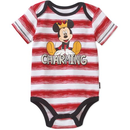 Mickey Mouse Newborn Baby Boys' Striped Bodysuit