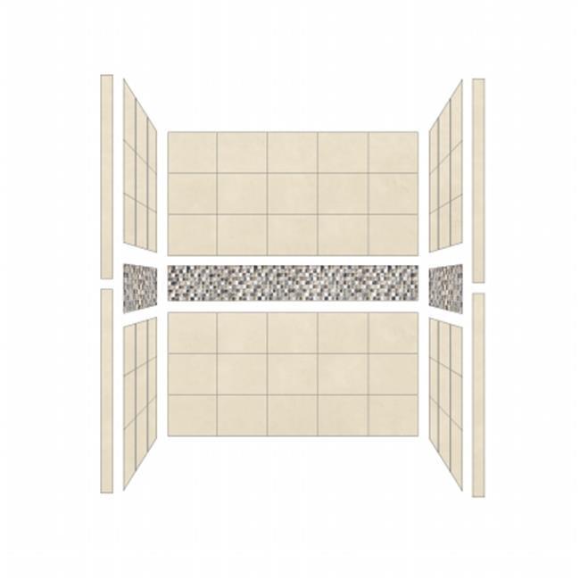 American Bath S544280ME Single 54 x 42 in. Mesa Walls