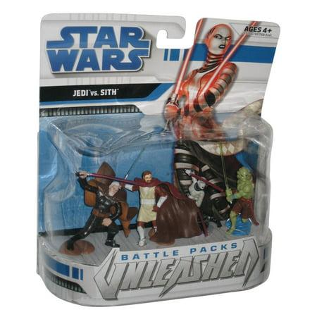 Sith Battle Packs (Star Wars Battle Packs Unleashed Jedi vs Sith Figure Set - (Count Dooku / Asajj / Kit Fisto / Kenobi))