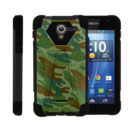 TurtleArmor ® | For Kyocera Hydro View | Hydro Reach | Hydro Shore [Dynamic Shell] Dual Layer Hybrid Silicone Hard Shell Kickstand Case - Green Beret Camouflage