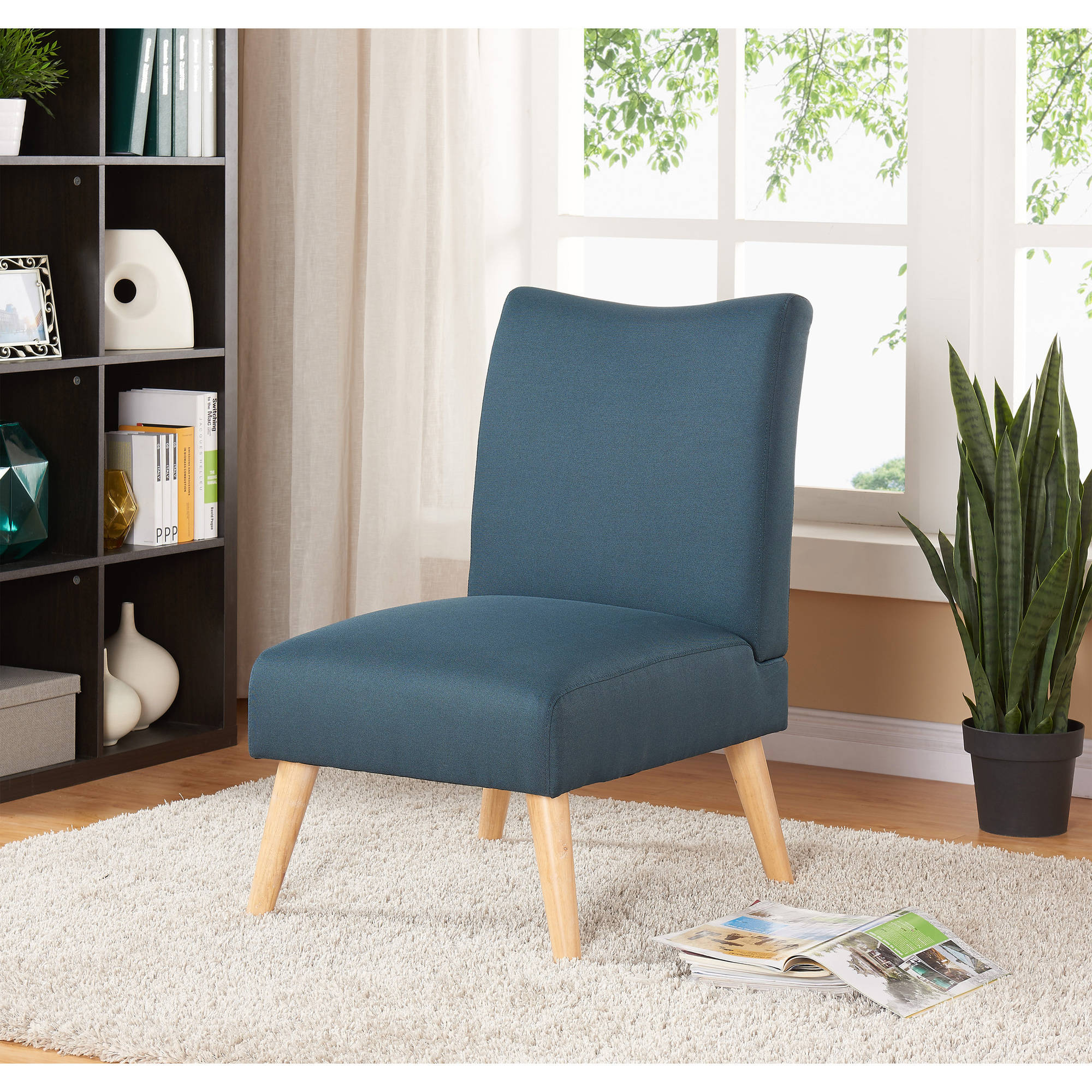 Beau Mainstays Solid Armless Slipper Chair, Multiple Colors