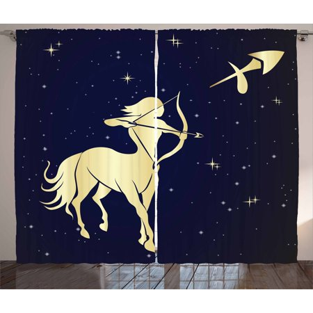 Zodiac Sagittarius Curtains 2 Panels Set, Starry Night with Constellation Silhouette of a Centaur, Window Drapes for Living Room Bedroom, 108W X 90L Inches, Dark Blue and Pale Yellow, by Ambesonne ()