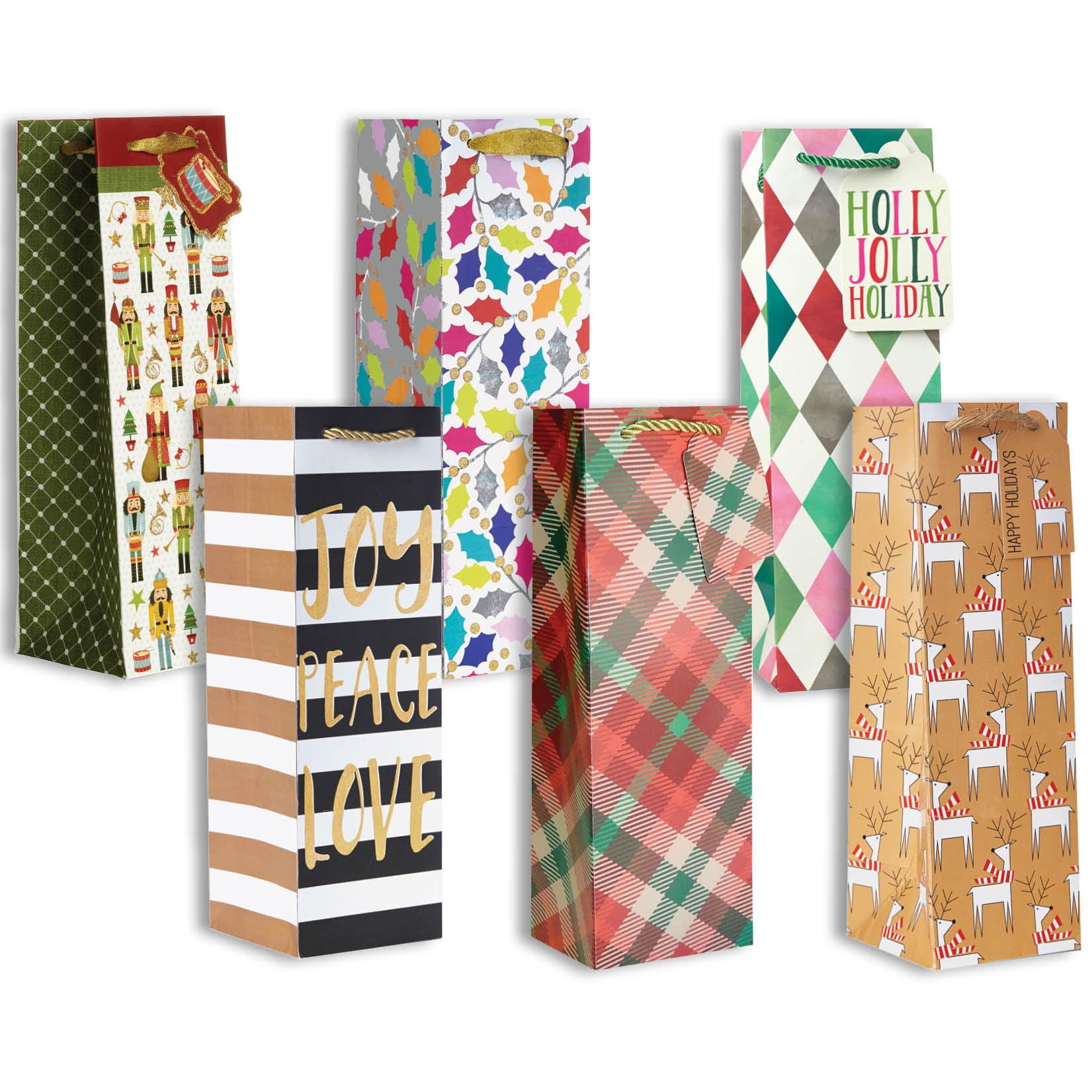 Jillson & Roberts Bottle Gift Bag Assortment, Christmas Designs (6 Bags)