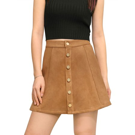 Women's Mid Rise Button Closure Front Bonded Suede A-Line Mini Skirt Dress Yellow L (US 14) - Low Rise Mini Skirt
