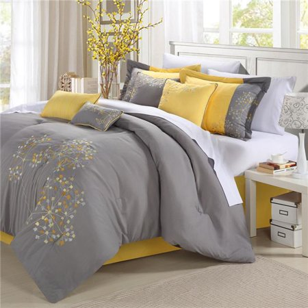 Chic Home 33CQ111-US Pink Floral Embroidered Comforter Set - Yellow - Queen - 8 Piece